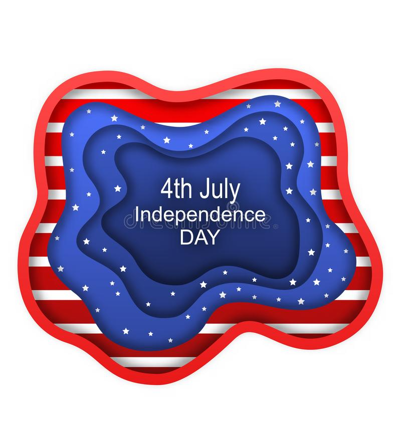 Cut Paper Background for Fourth of July Independence Day of the USA, American Nation Colors royalty free illustration