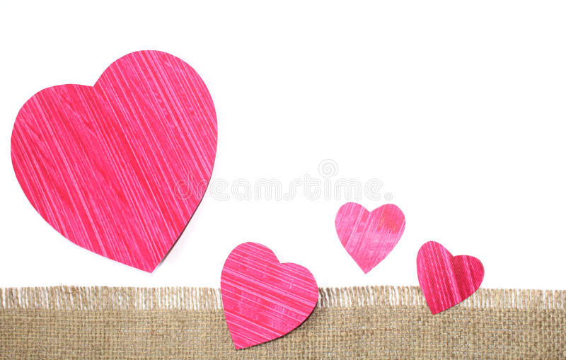 Cut paper heart shape. With jute cloth banner design photo stock photography