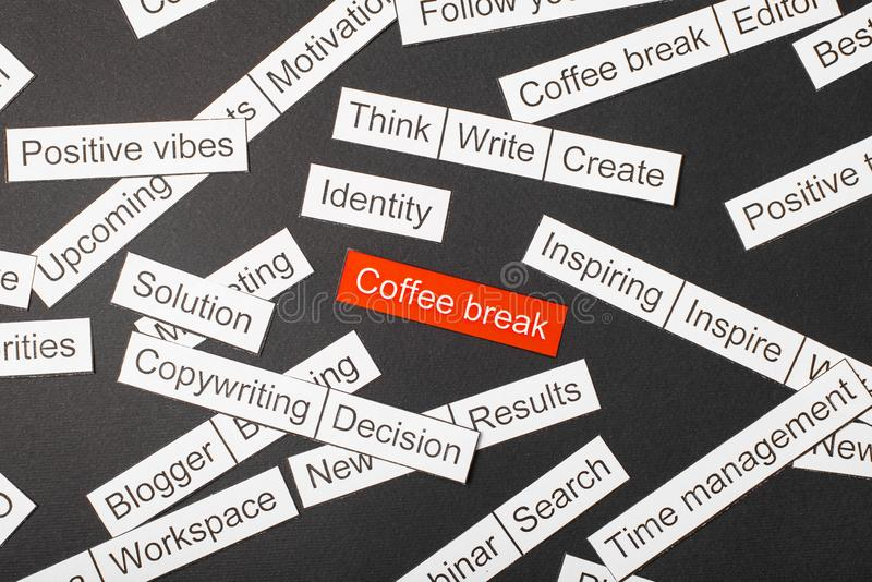 Cut paper inscription coffee break on a red background, surrounded by other inscriptions on a dark background. Word cloud concept.  royalty free stock photos