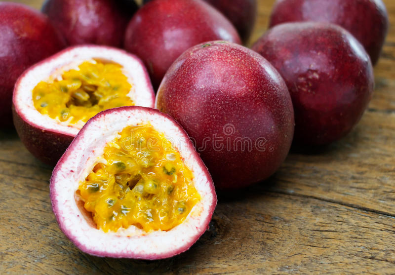 Cut passion fruits stock photo