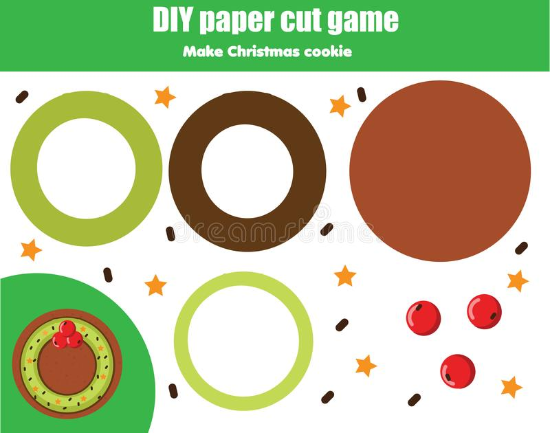 Cut And Paste Children Educational Game. Paper Cutting Activity ...