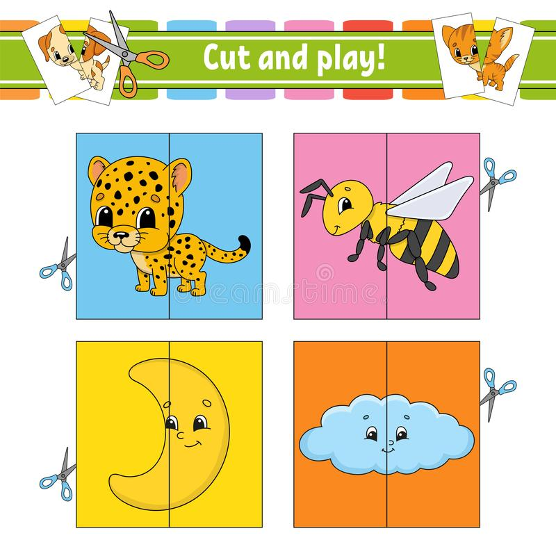 Cut and play. Flash cards. Color puzzle. Education developing worksheet. Activity page. Game for children. Funny character. Isolated vector illustration vector illustration