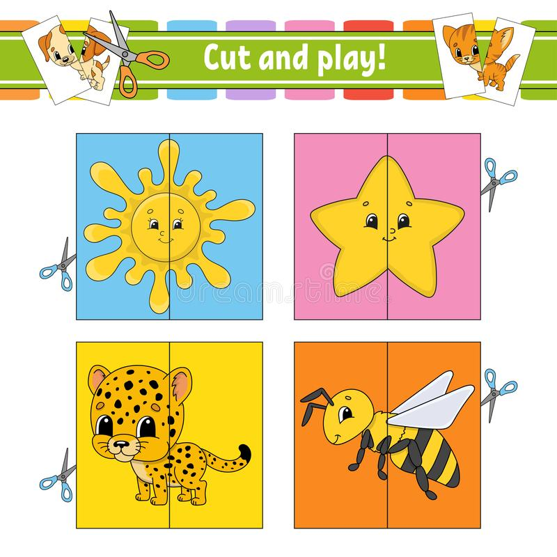Cut and play. Flash cards. Color puzzle. Education developing worksheet. Activity page. Game for children. Funny character. Isolated vector illustration royalty free illustration