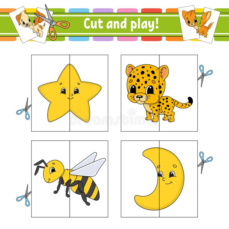 Cut and play. Flash cards. Color puzzle. Education developing worksheet. Activity page. Game for children. Funny character. Isolated vector illustration stock illustration