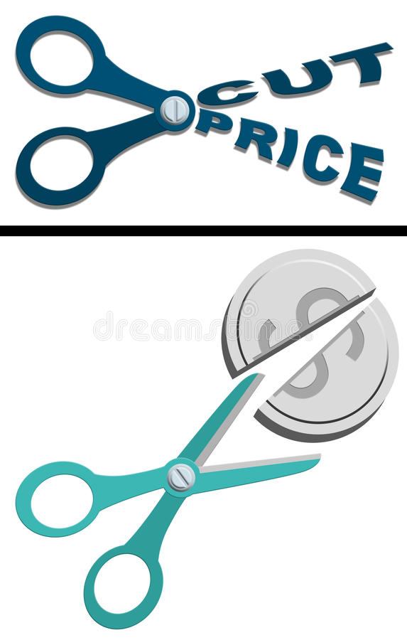 Cut price. Two concepts of savings, cut price, and sale, for marketing and advertising graphic element vector illustration