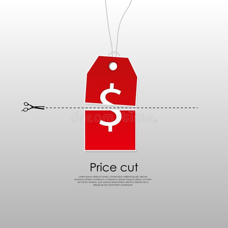 Cut price concept. Cut price label icon concept stock illustration
