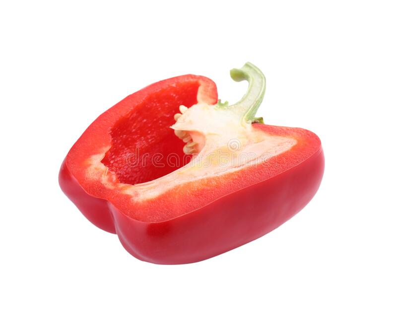 Cut red bell pepper isolated. On white royalty free stock images