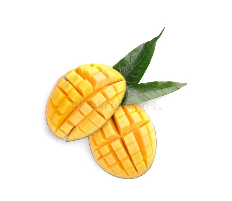 Cut ripe mango on white background, top view. stock photos