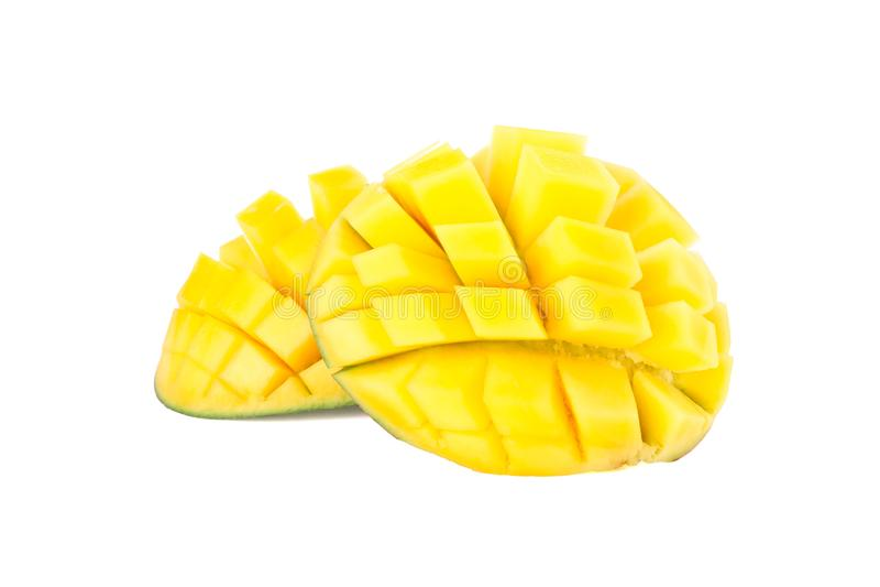 Cut ripe mangoes isolated on white background. Closeup stock images
