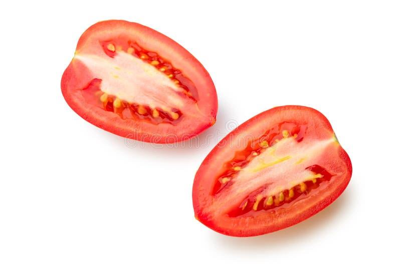 Cut San Marzano Tomato. Isolated on white background royalty free stock photo