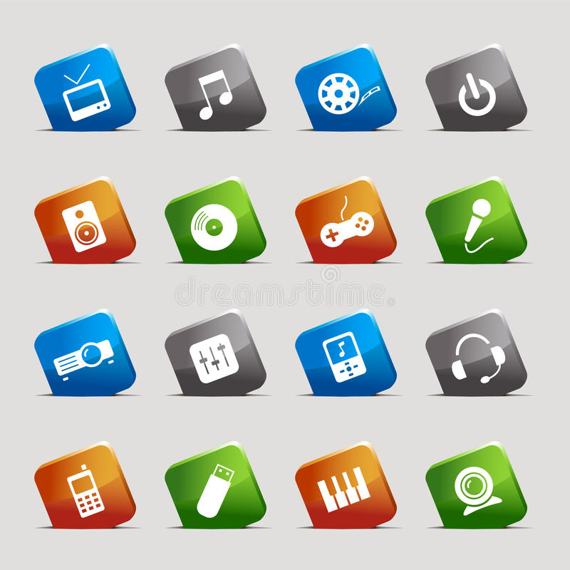 Cut Squares - Media Icons royalty free illustration