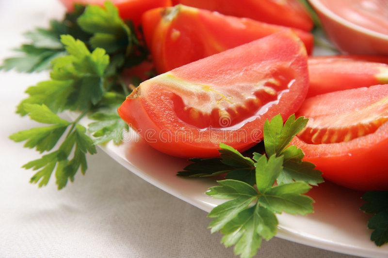 Cut tomatoes. stock images