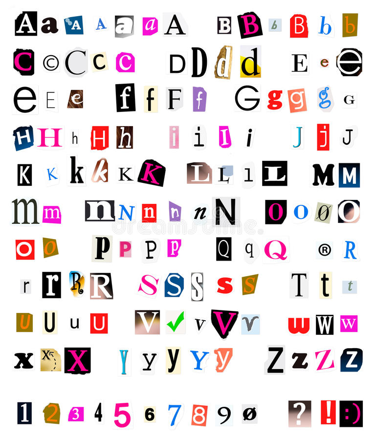 Cut and torn out font. Different kinds of cut and torn out font from magazines and papers as often used in ransom notes stock image