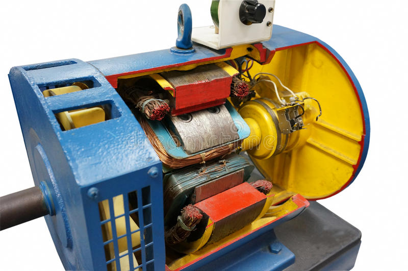 Cut way electric motor. Cut way synchronous electric motor in background royalty free stock image