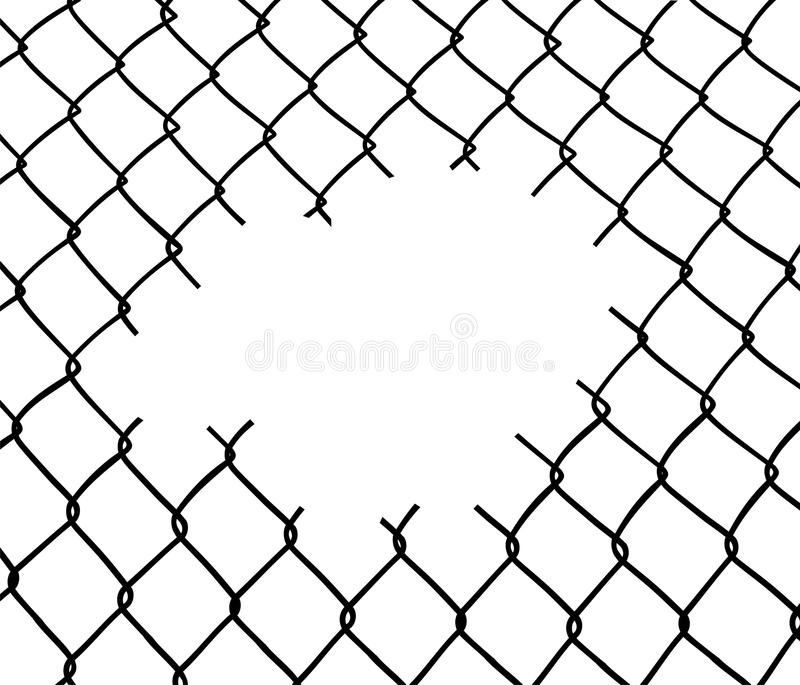 Cut wire fence stock illustration