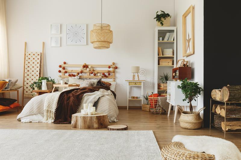 Wood pieces in bedroom royalty free stock photos
