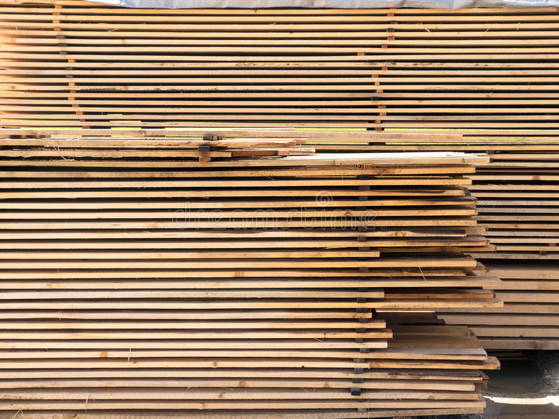 Cut wood spruce boards. Timber, planed boards. royalty free stock image