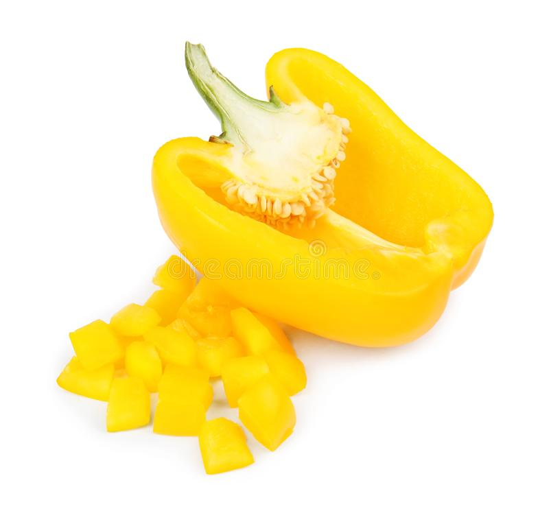 Cut yellow bell pepper on white. Cut yellow bell pepper isolated on white stock photography
