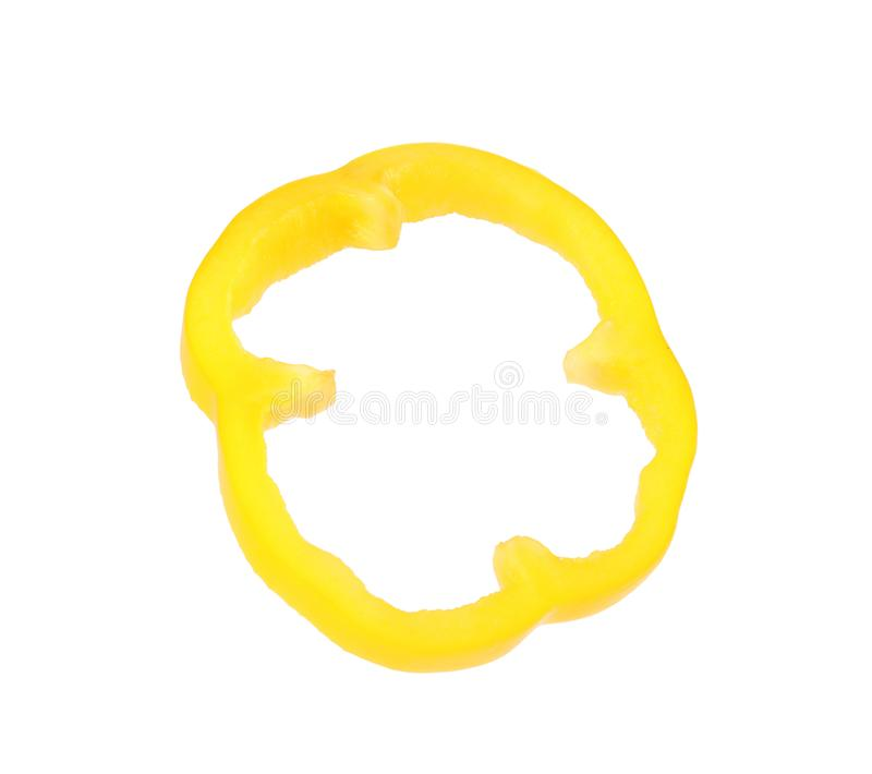 Cut yellow bell pepper on white. Cut yellow bell pepper isolated on white stock images
