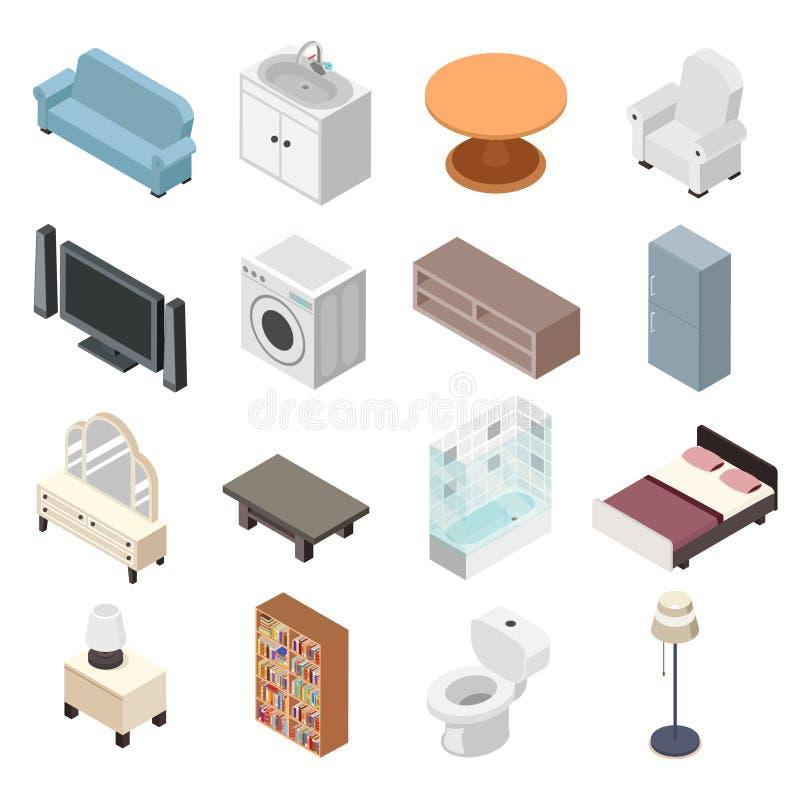 Cutaway комнаты ливня стиральной машины раковины туалета набора мебели Bathroom дизайн равновеликого современного плоский изолиро иллюстрация штока