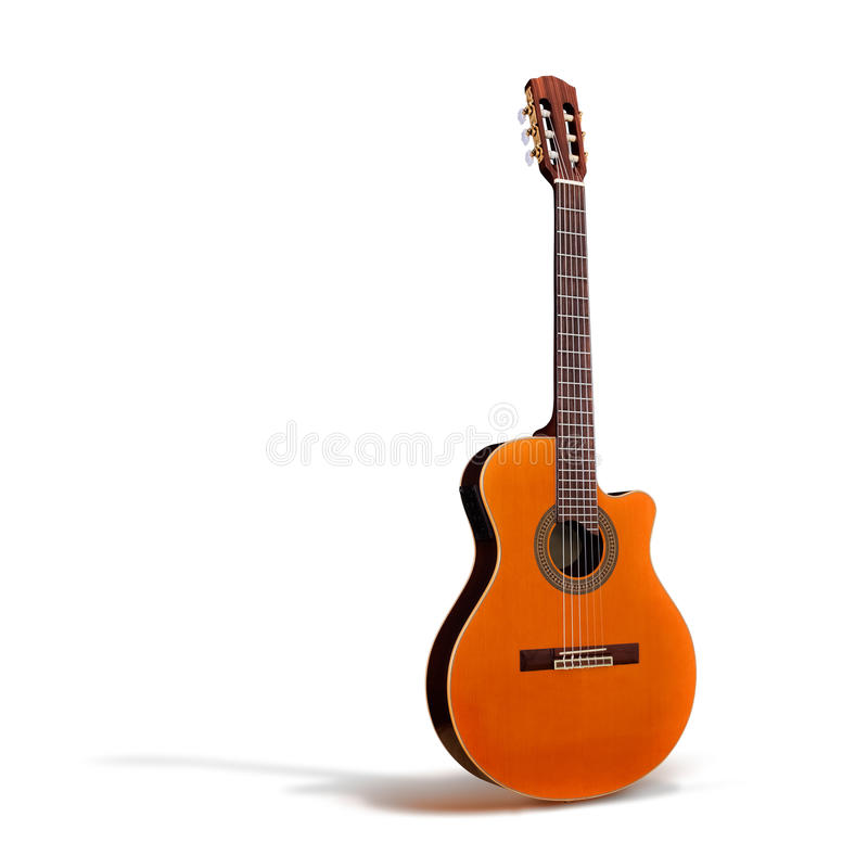 Cutaway Classical Acoustic Guitar//whole Body/Isol Stock Image