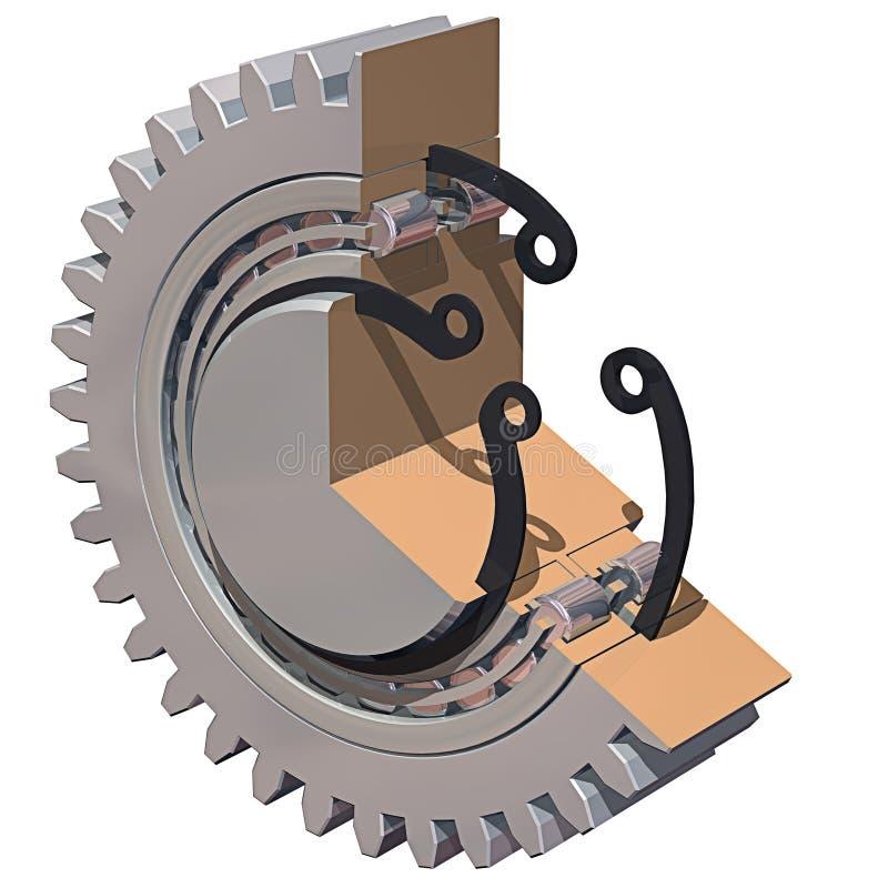 Cutaway da engrenagem & do rolamento ilustração stock