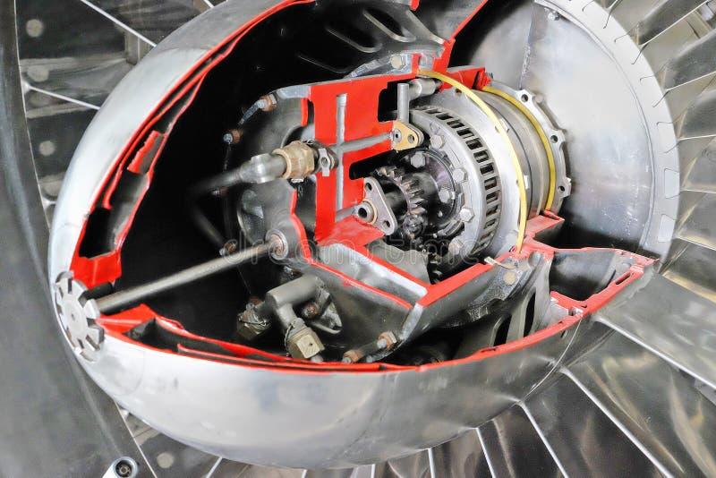 Cutaway do motor de jato do turbocompressor imagens de stock