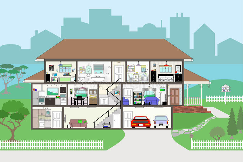 Cutaway House with Highly Detailed Rooms EPS8 stock illustration