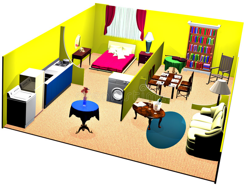 Cutaway house show rooms royalty free illustration