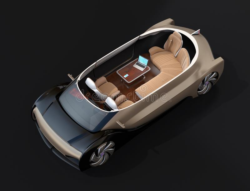Cutaway self driving electric car  on black background royalty free illustration