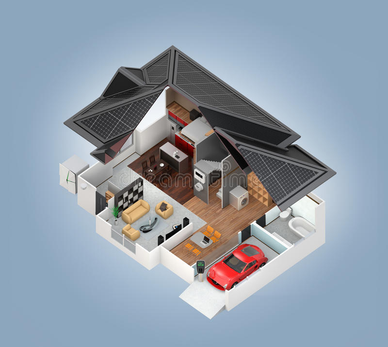 Cutaway view of smart house interior vector illustration