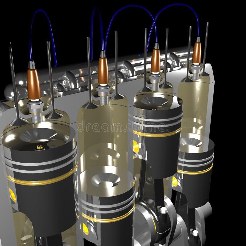 cutawaymotor royaltyfri illustrationer