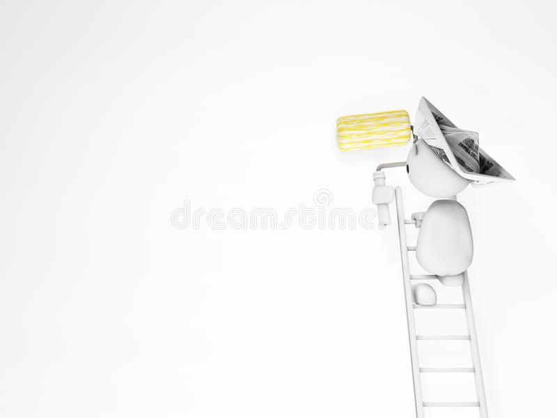 A cute 3d guy paints on a white wall royalty free illustration