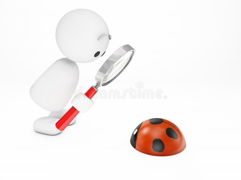 A cute 3D guy watches a ladybug stock illustration