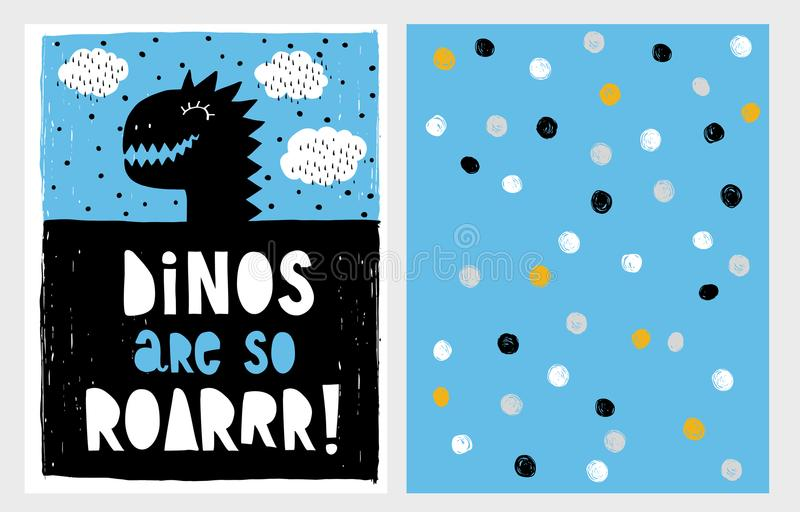 Cute Abstract Black Dinosaur Theme Vector Illustration Set. Black Dino`s Head on a Blue Background. royalty free illustration