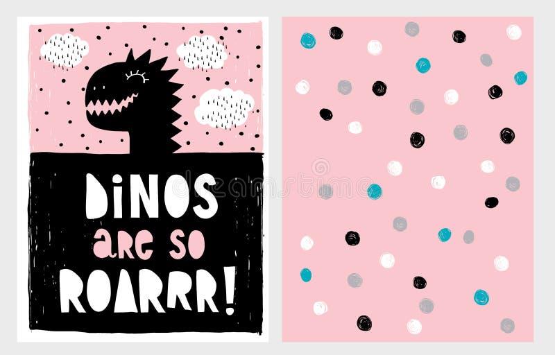 Cute Abstract Black Dinosaur Theme Vector Illustration Set. Black Dino`s Head on a Pink Background. vector illustration