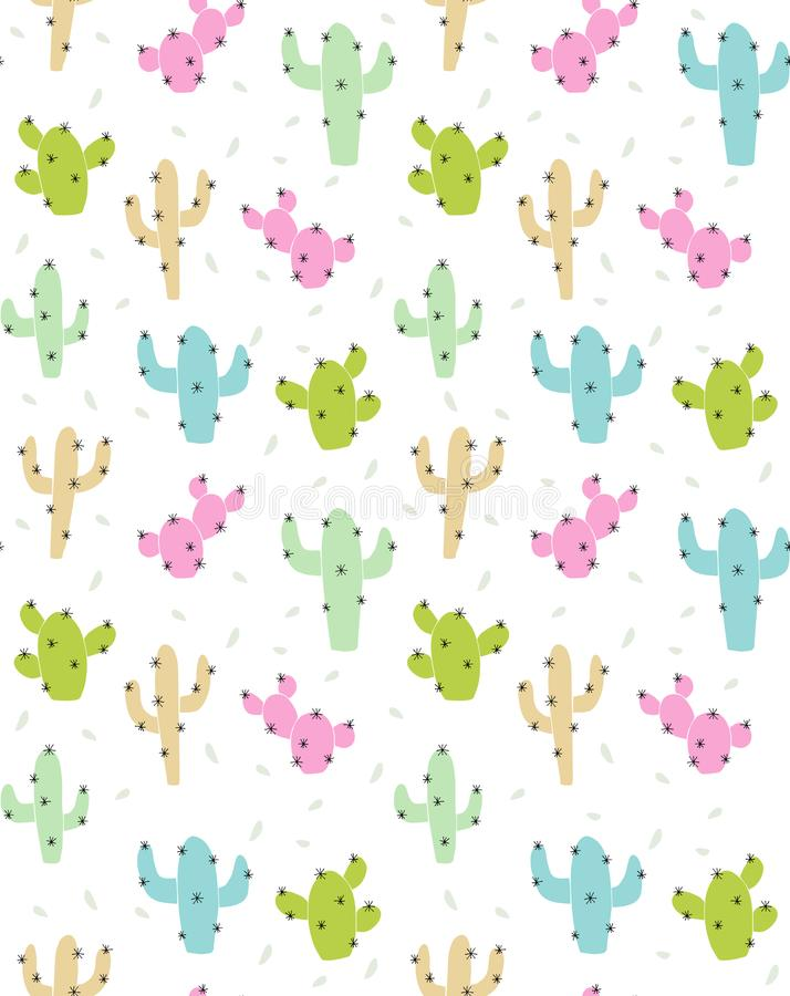 Cute Abstract Cactus Vector Pattern. Pink, Green, Beige and Blue Cactus with Black Spines. royalty free illustration