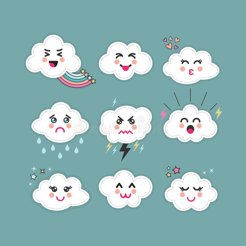 Cute abstract clouds emoji icons set with different expressions on blue. Cute abstract clouds emoji icons set with different faces and expressions on blue teal vector illustration