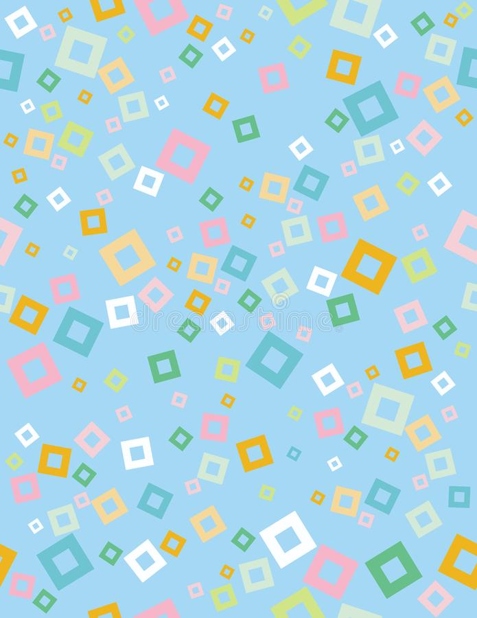 Cute Abstract Geometric Vector Pattern. Light Blue Background. White, Green, Yellow and Blue Squares Confetti. Seamless Design. stock illustration