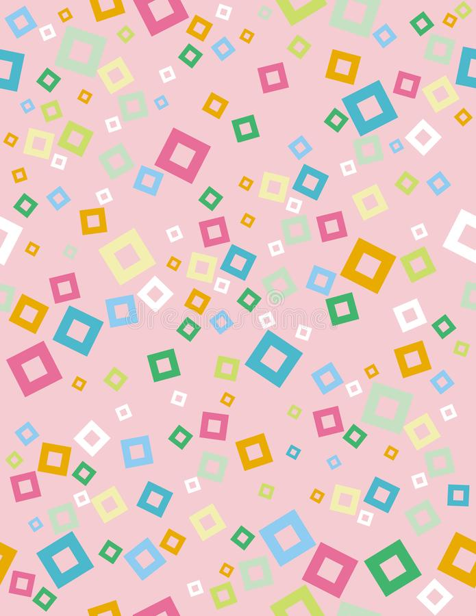 Cute Abstract Geometric Vector Pattern. Light Pink Background. White, Green, Yellow and Blue Squares Confetti. Seamless Design. stock illustration