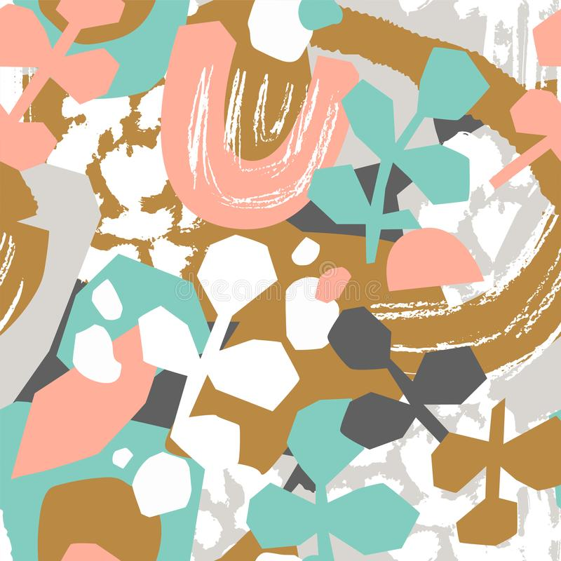 Cute abstract leaves in pink, blue and gold colors. Vector seamless pattern for fabric or wallpaper design. royalty free illustration