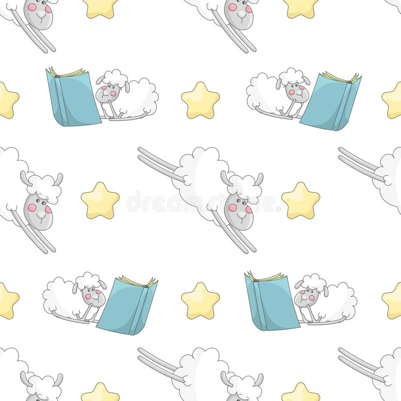 Seamless pattern with cartoon stars and sheep royalty free illustration
