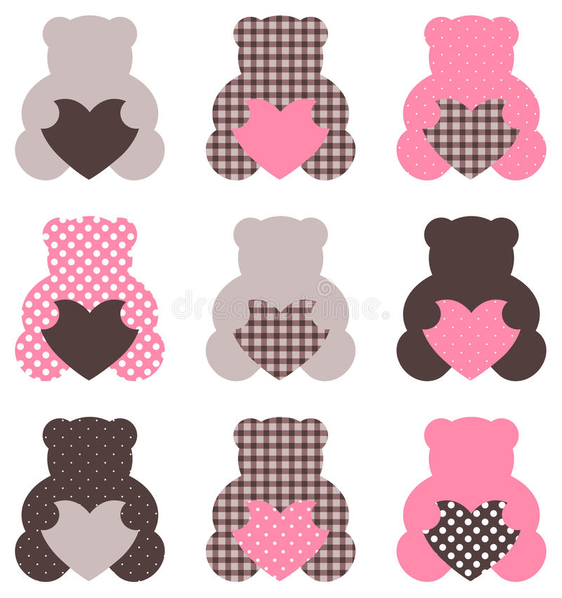Cute abstract Teddy retro set royalty free illustration