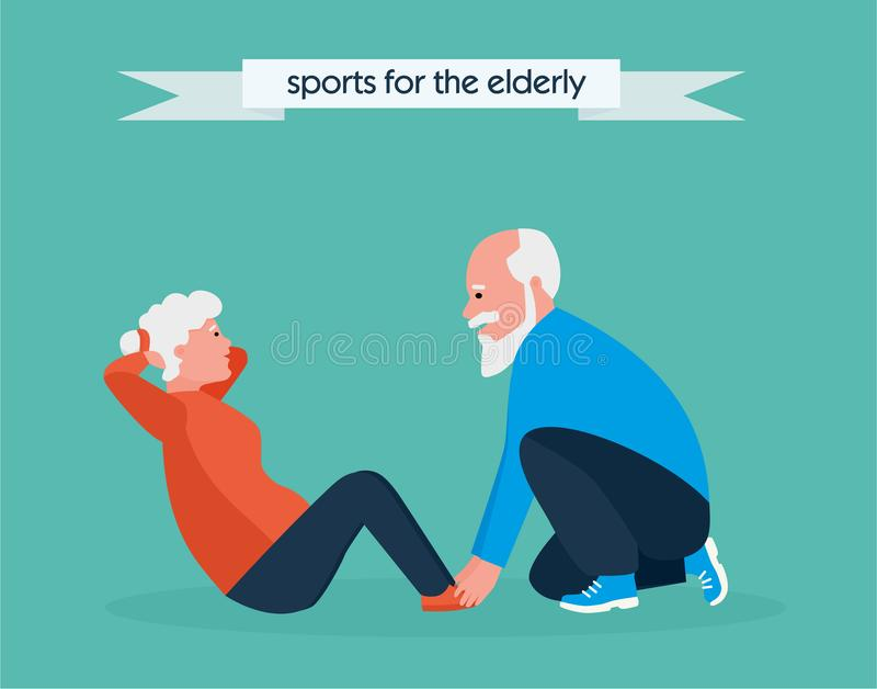 Cute active elderly woman carries out exercise on outdoor fitness playground. Shakes press. Healthy lifestyle concept. Cartoon flat style illustration stock illustration