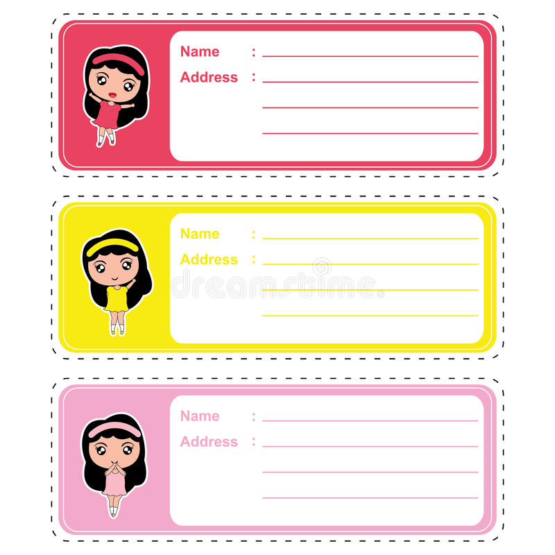 Cute address label cartoon with cute colorful girls on pastel color suitable for kid address label. And tag royalty free illustration