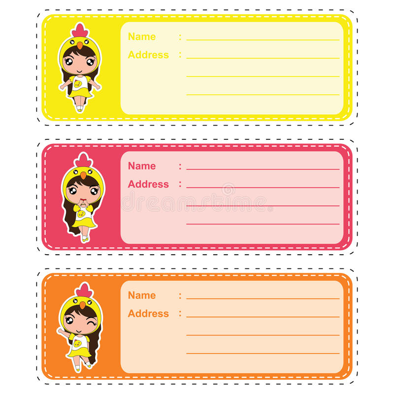 Cute address label vector cartoon illustration with cute colorful chick girls suitable for kid address label design. And address tag royalty free illustration