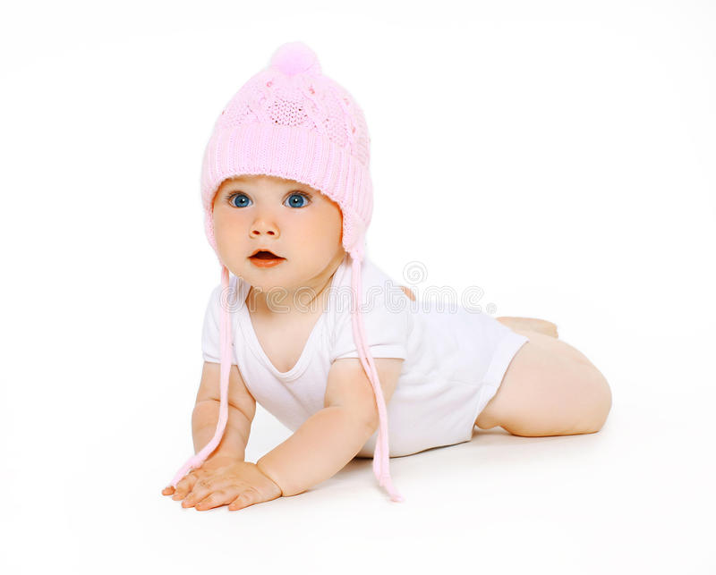 Cute adorable baby in hat stock images