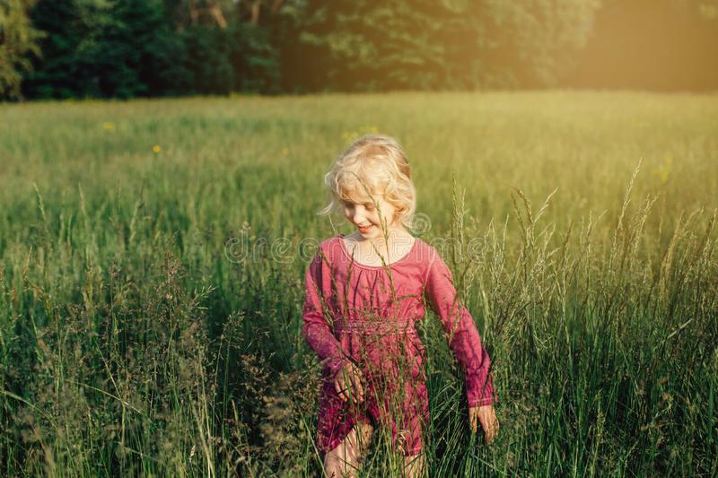 Caucasian girl walking in tall high grass on meadow at sunset. royalty free stock images