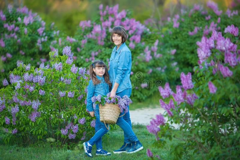 Cute adorable beautifull mother lady mom woman with brunette girl daughter in meadow of lilac purple bush.People in jeans wear. stock photo