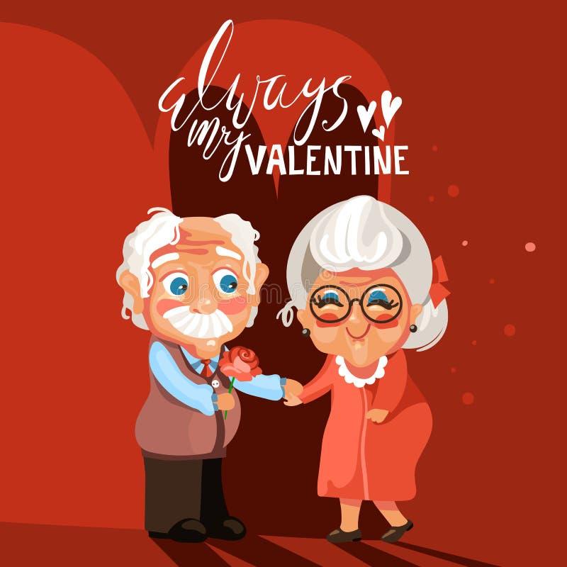 Cute, adorable cartoon senior couple in love romantic. Valentine`s Day card. Cute, adorable cartoon senior couple in love romantic. Old man gives the beautiful stock illustration
